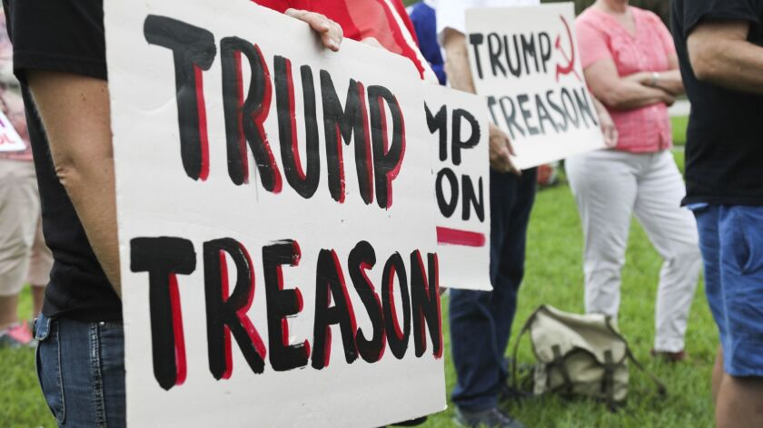 Protesters accuse President Trump of treason.