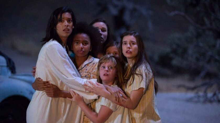 (L-R) STEPHANIE SIGMAN as Sister Charlotte, TAYLER BUCK as Kate, GRACE FULTON as Carol, LULU WILSON