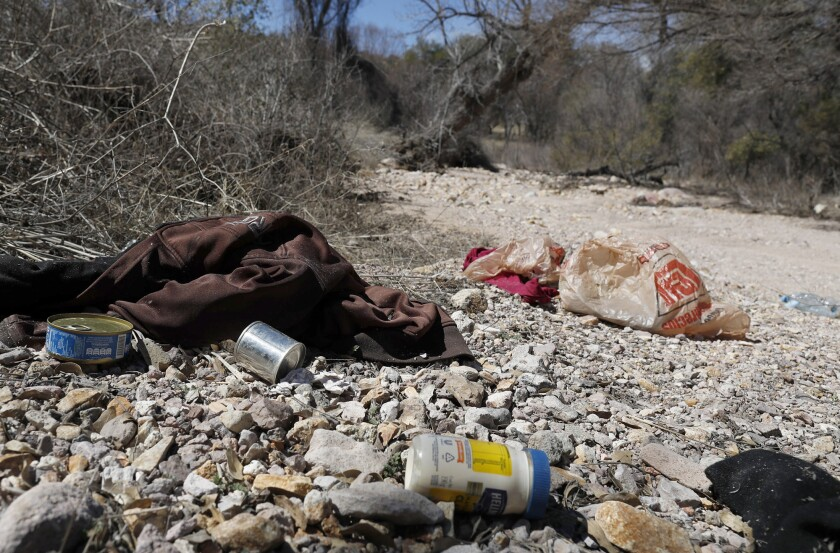 CORONADO NATIONAL FOREST, ARIZ. -- SUNDAY, MARCH 3, 2019: Food and clothing left behind by migrants