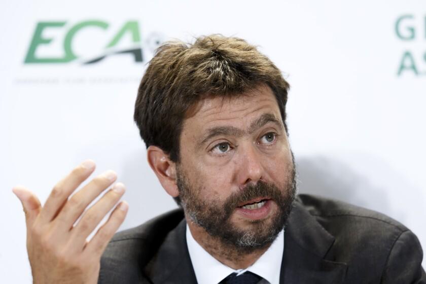 Andrea Agnelli hablando con la prensa tras una conferencia de la Asociación de Clubes Europeos