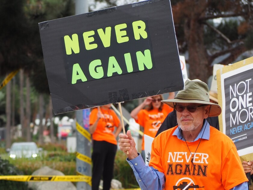 Supporters of NeverAgainCA gathered outside the Del Mar Fairgrounds Sept. 28.