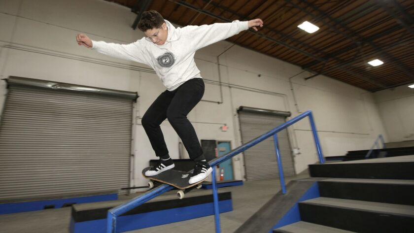 Alana Smith, a pro skateboarder and Olympic hopeful from Texas, grinds on a rail midway through the indoor street course at California Training Facility in Vista on Feb. 6, 2019.