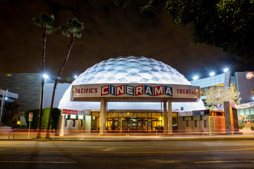 The Cinerama Dome sits lighted but empty
