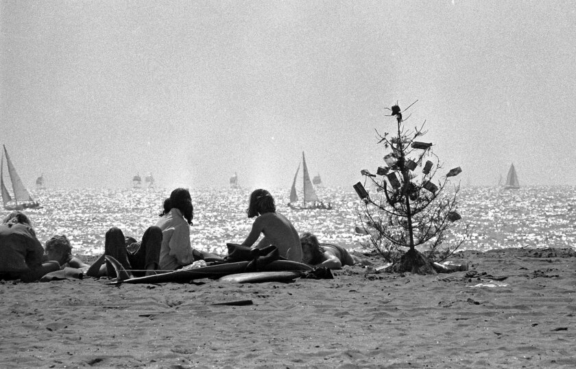 March 26, 1973: Beach goers with discarded Christmas tree on shoreline with sailboats in backgroun