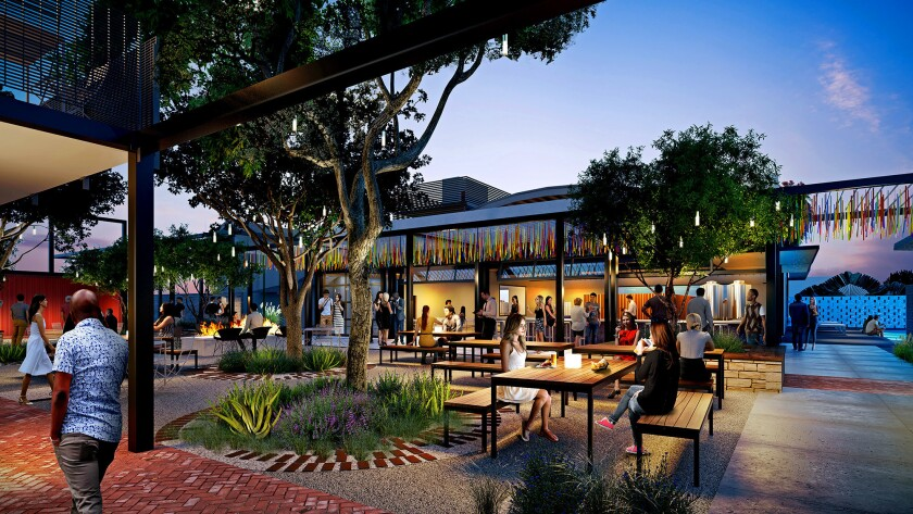 Rendering of Leisuretown, a brewery, bar and food hall complex being built at 549 Anaheim Blvd. in A