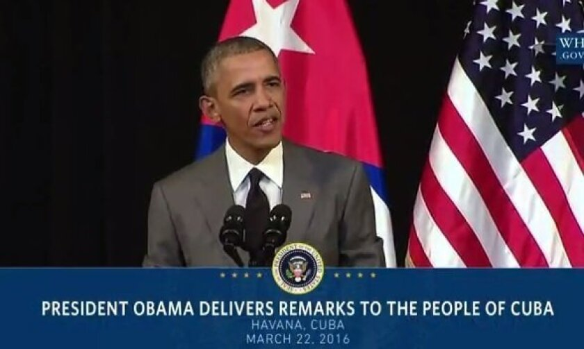 President Barack Obama remarks on the terror attack in Brussels while making a speech in Cuba.