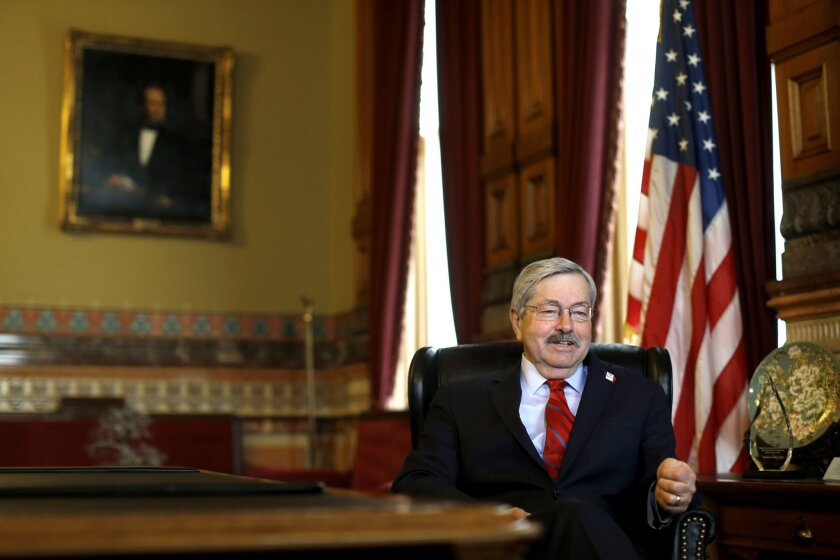 In this Jan. 28, 2016 photo, Iowa Gov. Terry Branstad speaks during an interview with The Associated Press in his office at the Statehouse in Des Moines, Iowa. Iowa's longtime Republican governor sees a national electorate very unhappy with government and financial institutions, but are ultimately most concerned about their nation's and their personal security. (AP Photo/Patrick Semansky)