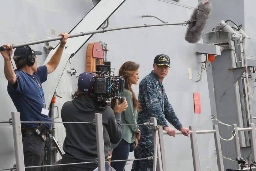 "Lead actors Eric Dane and Rhona Mitra, during filming for the second season of TNT Network's hit show ""The Last Ship"" has been taking place at Naval Station San Diego during the last week aboard the Navy Destroyer USS William P Lawrence."