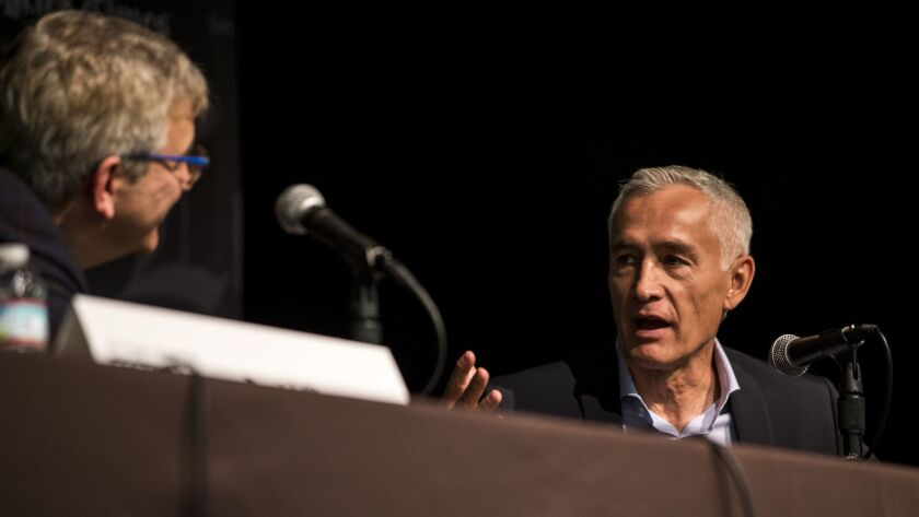 LOS ANGELES, CALIF. - APRIL 21: David Kipen speaks with journalist Jorge Ramos during a panel the an