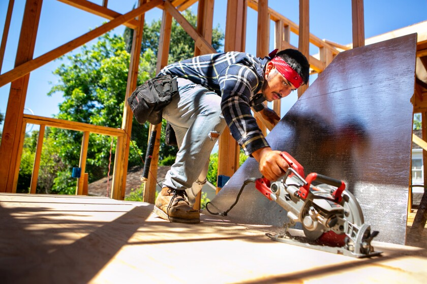 A worker surrounded by construction framing cuts plywood
