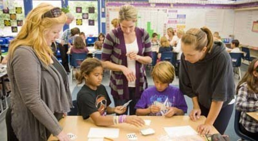 Parents joined the fun for Math Day at La Jolla Elementary School. Photo: Stephen Simpson