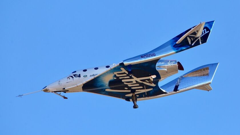 FILE - In this Dec. 13, 2018 file photo, a view of Virgin Galactic prior to it reaching space for th