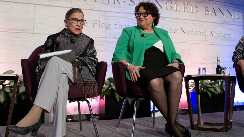 Supreme Court Justices Ruth Bader Ginsburg and Sonia Sotomayor speak at an event at the Smithsonian Museum of American History in Washington on June 1.