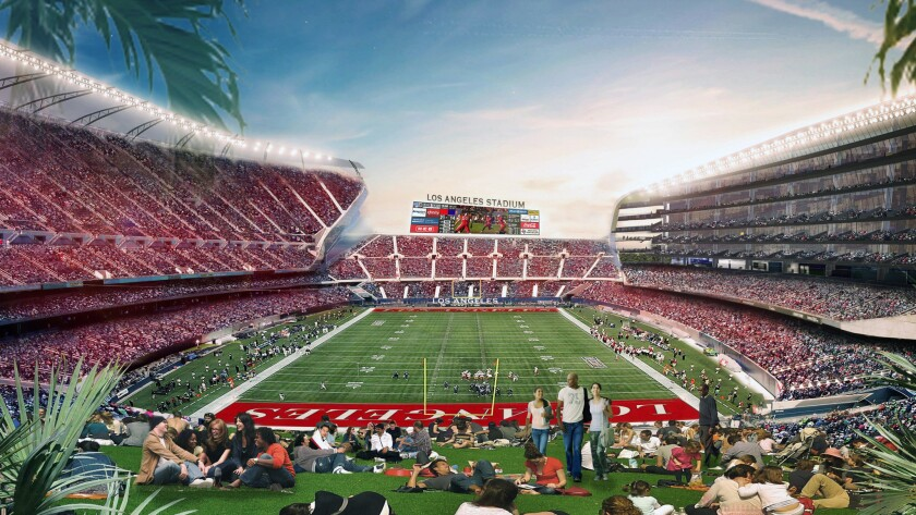 Artist's rendering of proposed stadium in Carson