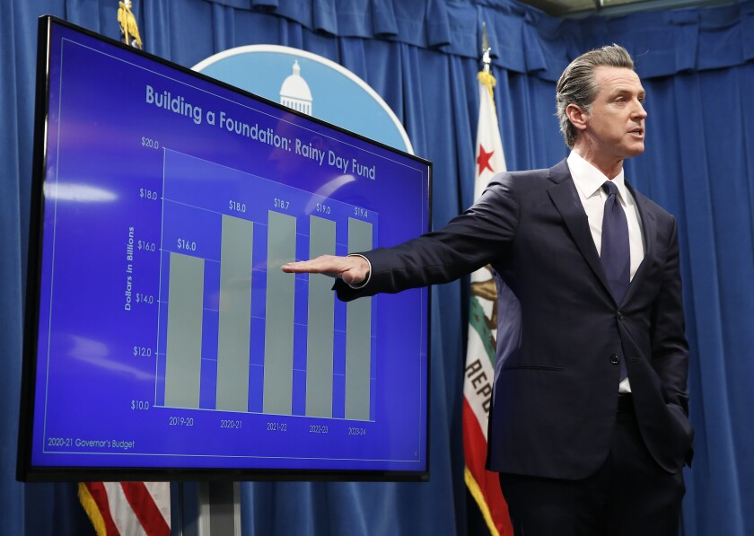 Gov. Gavin Newsom discussed a chart showing the growth of the state's rainy day fund as he discusses his proposed 2020-2021 state budget during a news conference in Sacramento on Friday.