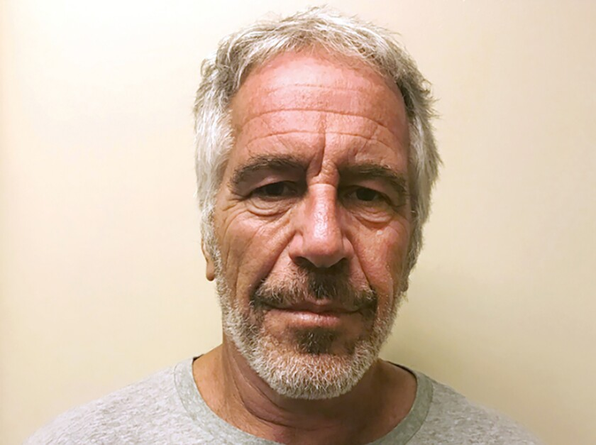 FILE - This March 28, 2017, file photo, provided by the New York State Sex Offender Registry shows Jeffrey Epstein. A woman whose claims of sexual abuse against Epstein were outlined in a federal indictment sued his estate Wednesday, Sept. 18, 2019, saying the wealthy financier took advantage of her family's poor financial position to abuse her from age 14 to 17. (New York State Sex Offender Registry via AP, File)