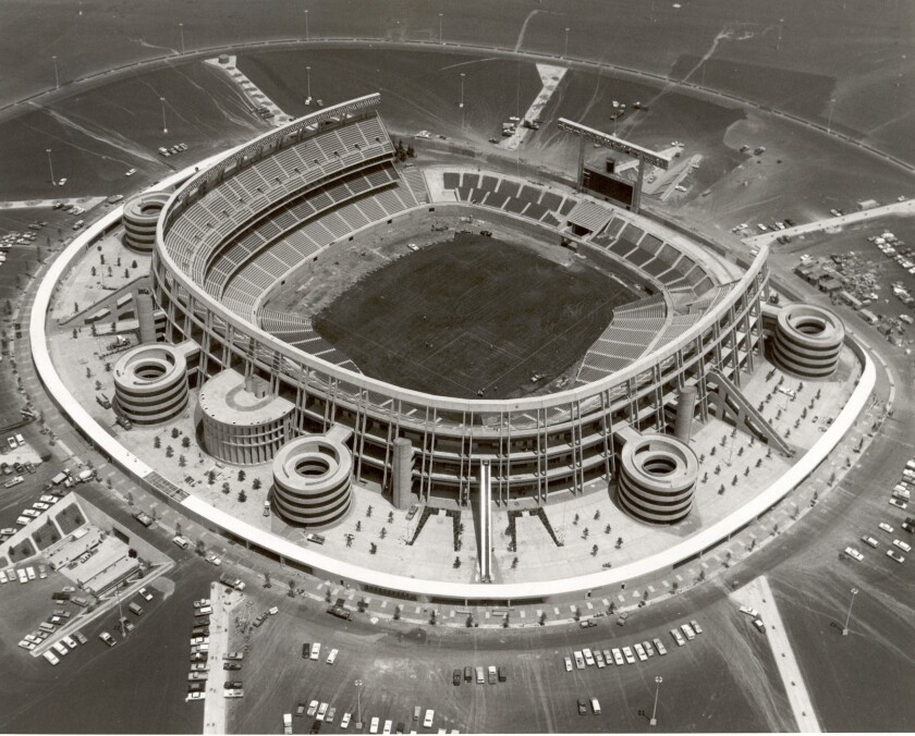 San Diego Stadium in the latter stages of construction in 1967.