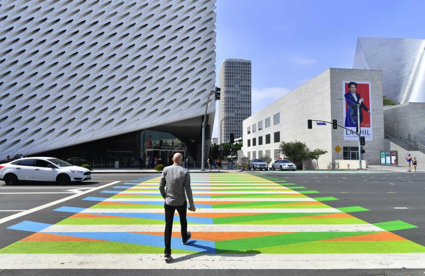 Carlos Cruz-Diez crosswalk Broad museum