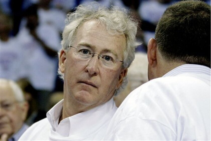 FILE- In this Wednesday, June 6, 2012 file photo, Aubrey McClendon, CEO of Chesapeake Energy Corp., is pictured during the second half of Game 6 in the NBA basketball Western Conference finals, in Oklahoma City. An investigation by Chesapeake Energy Corp.'s board of directors into outgoing CEO Aubr