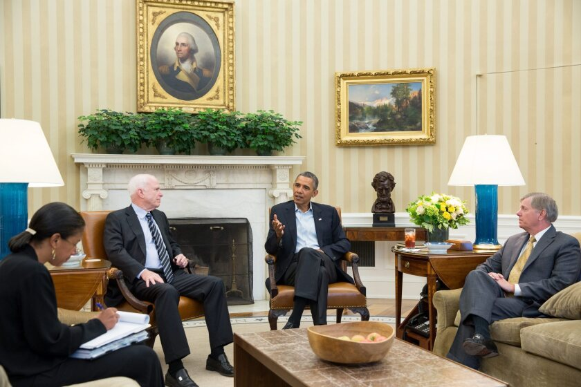 President Obama and National Security Advisor Susan E. Rice, left, meet in the Oval Office to discuss the Syria situation with Sens. John McCain (R-Ariz.) and Lindsey Graham (R-S.C.).