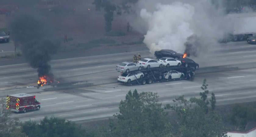 All lanes of the 210 Freeway in Arcadia were shut down Monday after a traffic collision involving several vehicles including a big rig, according to the California Highway Patrol.