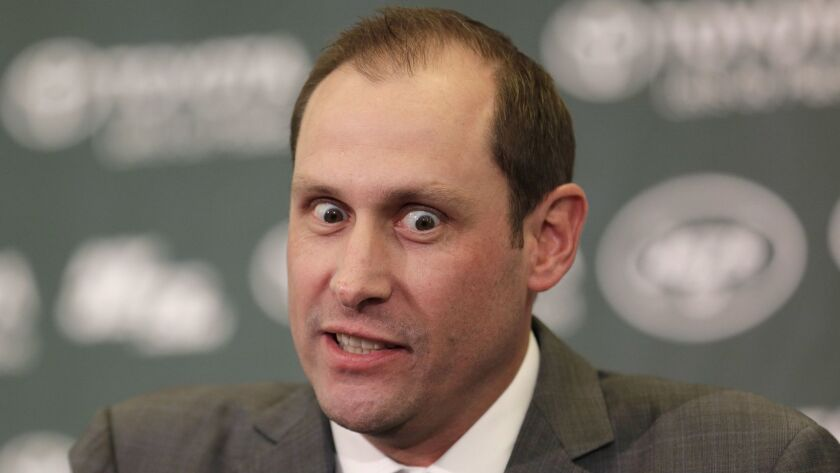 Jets head coach Adam Gase speaks during a news conference where he was formally introduced. Social media was quickly abuzz.