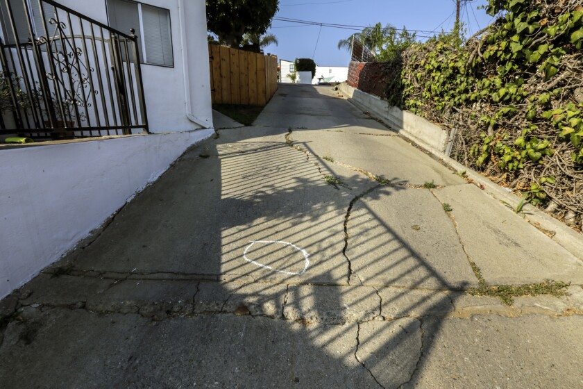 Police chased what they thought was a stolen car into this driveway at the end of a Boyle Heights cul-de-sac. At some point, the LAPD said, Officer Eden Medina shot Omar Gonzalez. Gonzalez, 36, died later at a hospital.