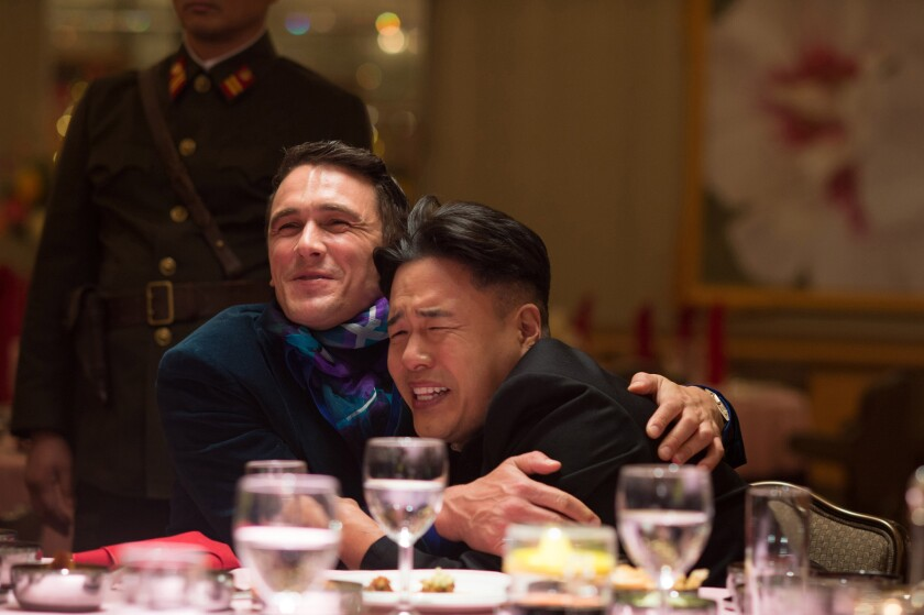 """James Franco, left, and Randall Park in """"The Interview."""""""