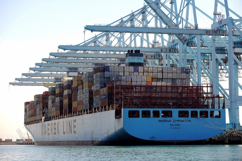 LOS ANGELES-CA-APRIL 20, 2016: The Maersk Edmonton, one of the two biggest ships, delivers cargo at