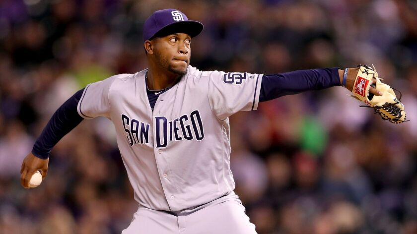 Miguel Diaz of the San Diego Padres pitches against the Colorado Rockies at Coors Field on April 11, 2017, in Denver, Colorado.