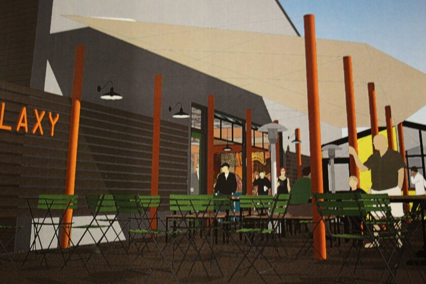 A proposed rendering of the exterior of Galaxy Tacos.
