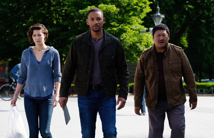 """Mary Elizabeth Winstead, Will Smith and Benedict Wong in """"Gemini Man."""""""