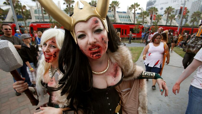 The now-defunct Zombie Walk, seen here in 2013, was an attraction fans without a convention badge en