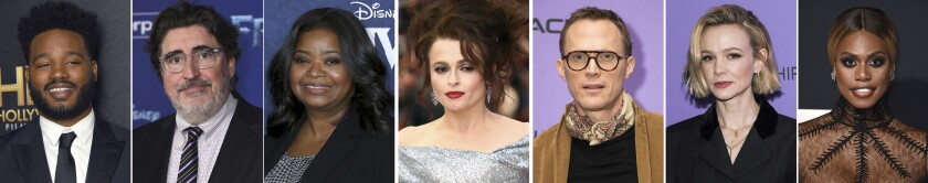 This combination photo of celebrities with birthdays from May 23-29 shows Ryan Coogler, from left, Alfred Molina, Octavia Spencer, Helena Bonham Carter, Paul Bettany, Carey Mulligan and Laverne Cox. (AP Photo)