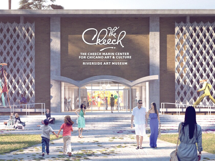 A rendering shows the foreground of a large building with people walking on a pathway out front
