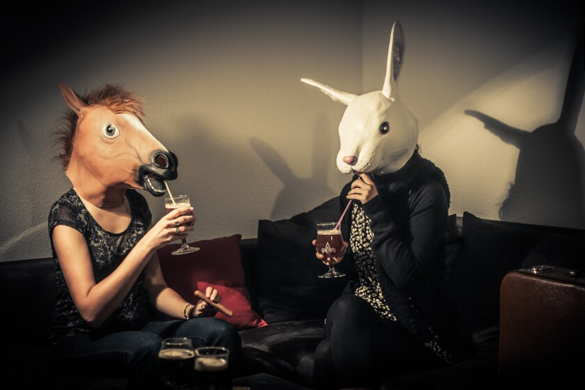 Rabbit and horse drinking together