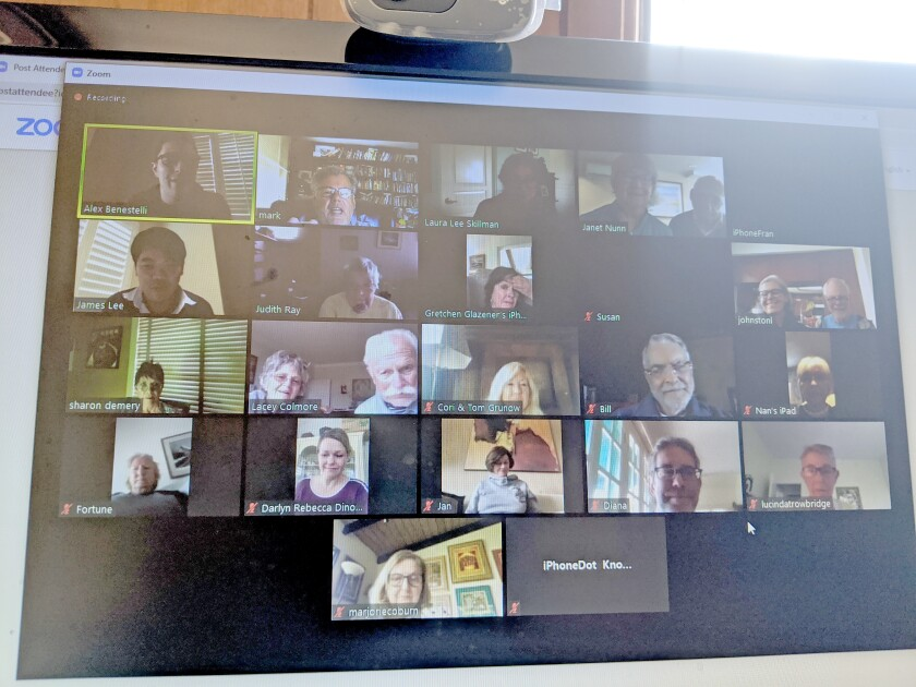 A video chat session via the Zoom app is used by parishioners from St. James by-the-Sea Episcopal Church as a prayer group; as pictured in March 2020. Recorded sermons are uploaded to the church's YouTube channel, which are embedded on its website: sjbts.org