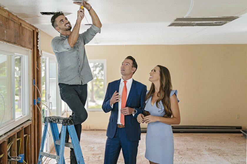 "The new HGTV series ""Hot Properties: San Diego"" follows contractor Andrew White (left), Realtor Seth O'Byrne and real estate agent Mia Tidwell as they work together to sell homes in San Diego county."