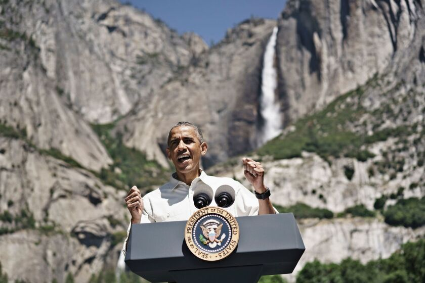 President Obama speaks at Yosemite National Park