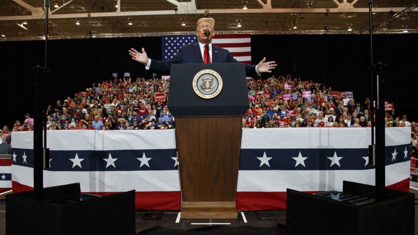 President Trump speaks during a rally in Cleveland, Ohio on Nov. 5, 2018.