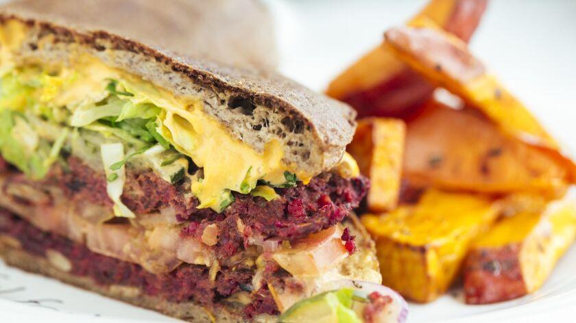 """The """"I Am Magical"""" vegan burger at Cafe Gratitude."""