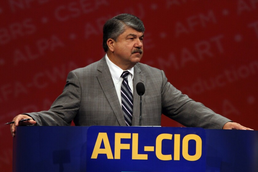 The union membership rate in the U.S. held steady at 11.3% in 2013. Above, Richard Trumka speaks at the AFL-CIO, the country's largest labor federation, at its Los Angeles convention in September.