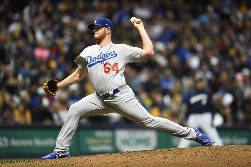 The Dodgers' Caleb Ferguson pitches against the Brewers on April 18, 2019.