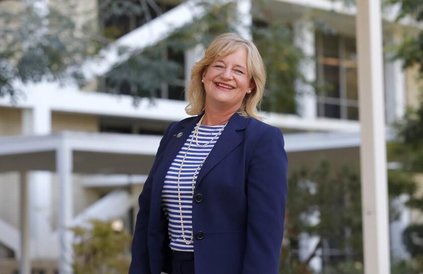 Mayor Katrina Foley in front of Costa Mesa City Hall.