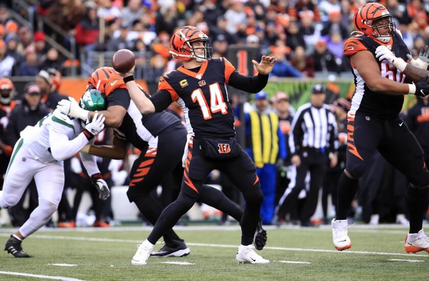 Cincinnati Bengals quarterback Andy Dalton passes.