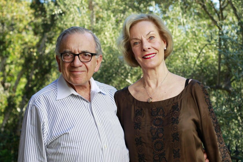 World of Children Award co-founders and co-chairs Harry Leibowitz and Kay Isaacson-Leibowitz at their home in Rancho Santa Fe. Each year, the couple's foundation gives grants to people and organizations heading up children's charities.