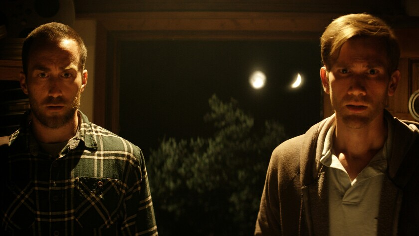 """(L-R) - Justin Benson and Aaron Moorhead in a scene from """"The Endless."""" Credit: WellGo USA"""
