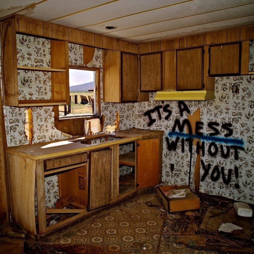 The view from a kitchen window in an abandoned trailer in the California desert.