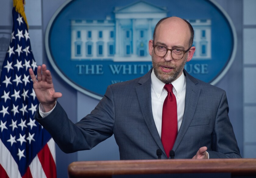Russell Vought, acting White House budget director, speaks during a news briefing March 11.
