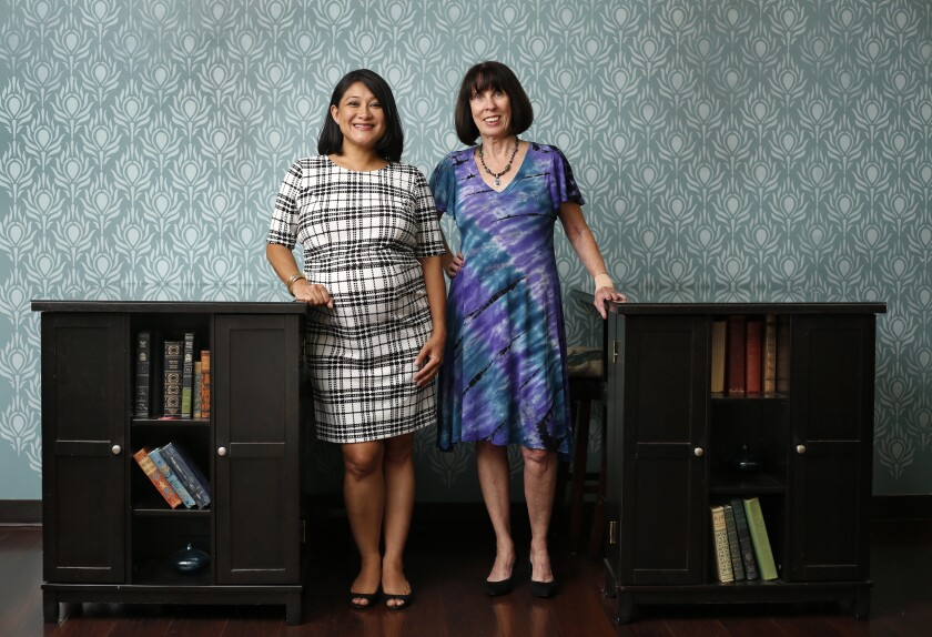 Christine Lee, left, and Karen Van Dyke, are the co-founders of Daughterhood Circle San Diego, a support group for caregivers dealing with aging parents and relatives.